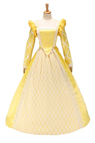 XOMO Vintage Tudor Period Queen Elizabeth I Deluxe Dress Ball Gown Ginger Yellow L