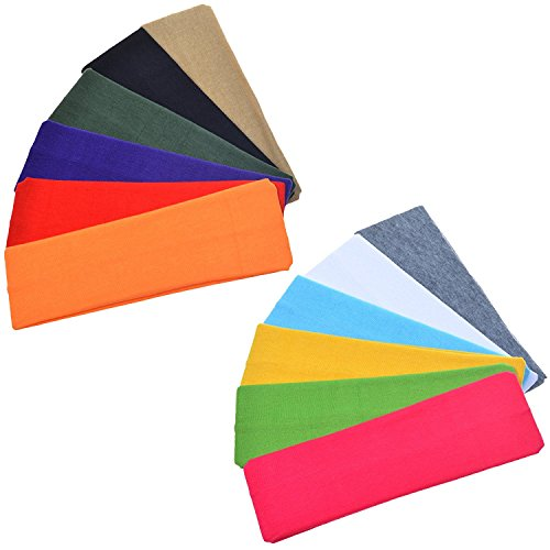 """SCStyle 2.5"""" Wide Stretchy Cotton Yoga Headband (12 Colors)"""