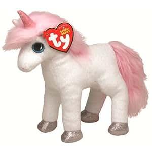 TY 7142063 Beanie Babies - Unicornio de peluche (15 cm), color blanco y rosa