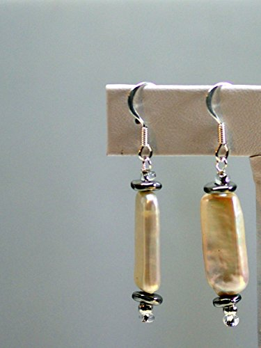 Slab Nugget - Pearl Earrings - Whipped Cream - Grade AA Slab Pearls with Silver Nuggets - Surgical Steel French Hooks w/Silver Wrap
