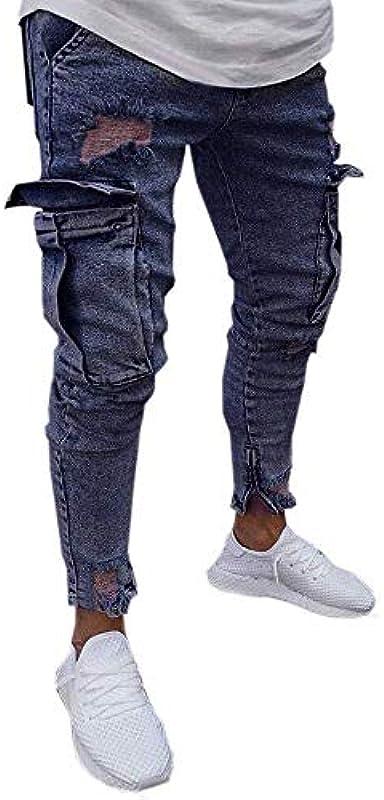 Hosen Męskie Jeans Destroyed Fit Slim Wesentlich Schwarzer Freitag Hose Męskie Jeans Destroyed Sommer Hosen Męskie Jogger Jeans Mit Löchern Schwarz Stretch Männer Slim Biker Jeans Hose: Odzież