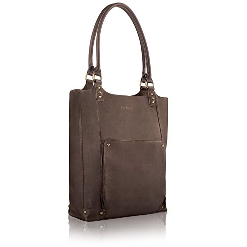 Solo Executive 16 Inch Leather Laptop Bucket Tote, Espresso - Vertical Case Executive