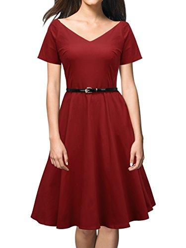ILover Women 1950s V-Neck Vintage Rockabilly Swing Evening Party Dress (3XL, V026-WineRed)