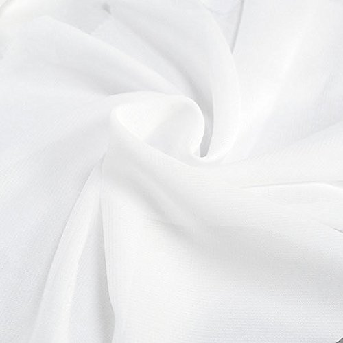 Solid Chiffon Fabric Polyester Dress Sheer 58'' Wide By the Yard All Colors (10 YARD, White)