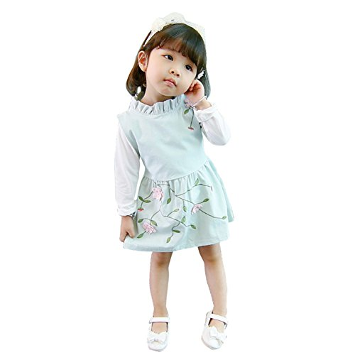 Party Baby Shirt Clothes Girls Weixinbuy Ruffled Pcs White Collar Toddler Top Dress Green amp; 2 Set xSqzAwXz5