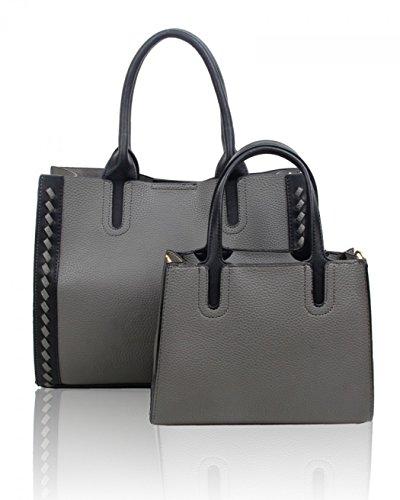 School 2 Dark Bags Women's Handbags Bag Grey Women IN 1 Large LeahWard For Tote 8777 UPq55