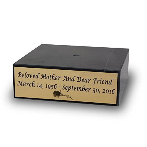 (Gold Engravable Plaque Marble Memorial Base - Black Personalized Base for Engraving - Custom Engraving Included)