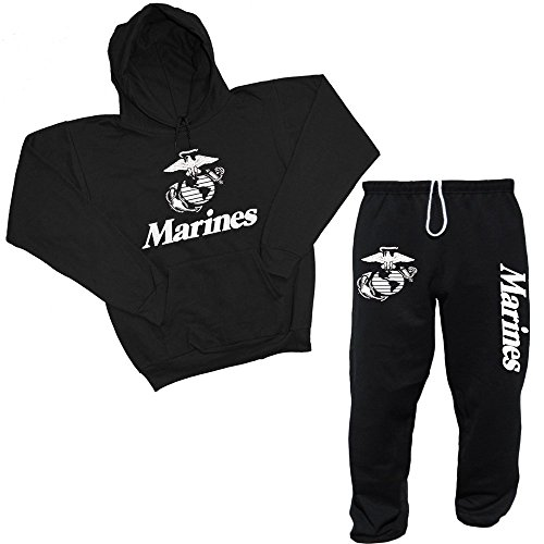 (Decked Out Duds Men's United States Marines USMC Hoodie & Sweatpants Set XX Large)