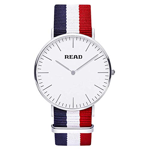 READ Silver Ultra-thin Case Simple Fashion Quartz Lovers Watches for Men & Couple Sweethearts Nylon White Blue Red Strap 2019 (men) by READ