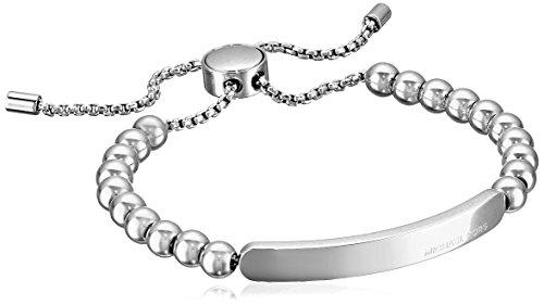Michael Kors Logo Plaque Adjustable Silver Tone Beaded Ba...