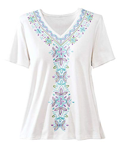 Alfred Dunner Women's Catalina Island Center Embroidery Top (X-Large) White