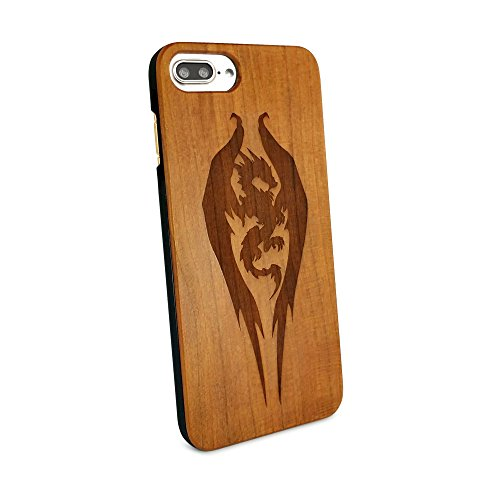 Tuff-Luv Genuine Cherry wood case for Apple iPhone 6s Plus / 7 Plus - 'Guardian' Dragon