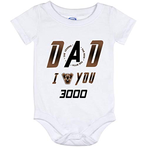 Dad I Love You 3000 Baby Onesie Shirt - Daddy The Man The Myth The Legend I Love You 3000 Times Baby Onesie Shirt Bodysuits, One Size, Baby Onesie 12 Month/White]()