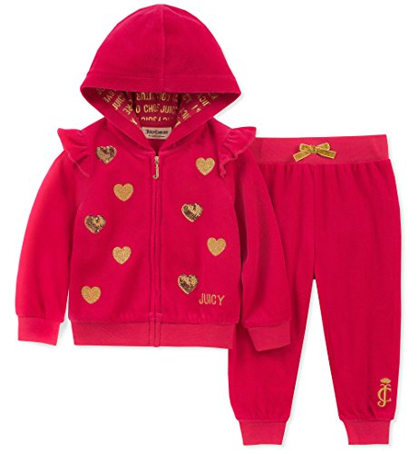 - Juicy Couture Baby Girls 2 Pieces Jog Set-Velour, Pink Sapphire/Gold, 6-9 Months