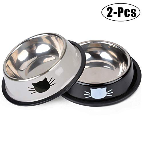 Legendog 2PCS Pet Bowls Stainless Steel Cat Food Water Bowl with Non-Skid Rubber