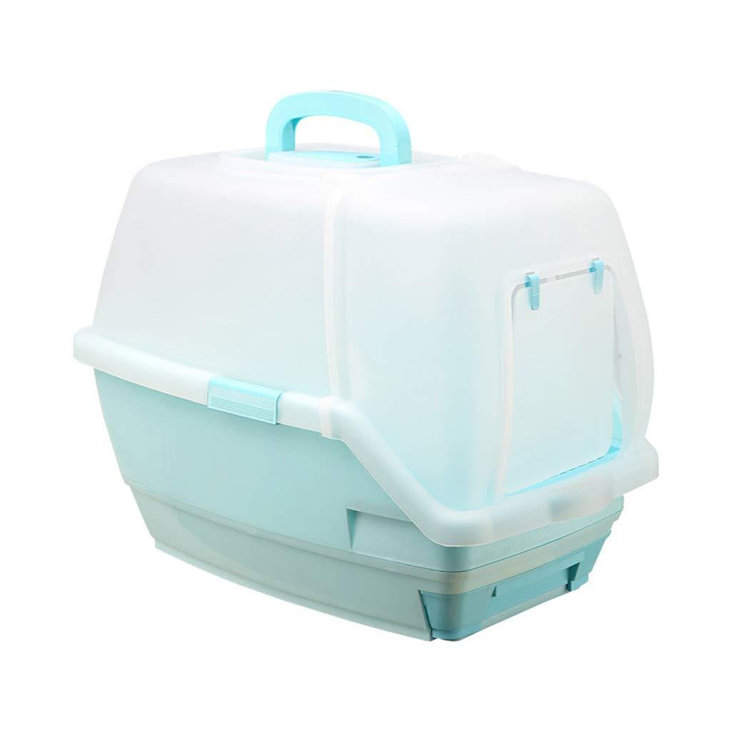 bluee Gg1201 Anti-splashing Cat Toilet, Oversized Fully Enclosed Litter Box (color   bluee)