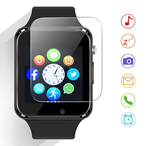 Qidoou Smart Watch Fitness Tracker,Smartwatches Compatible Android iOS Touchscreen Step Calorie Sleep Sedentary Monitor Waterproof, Call Message Music with SIM SD Slots Men Women (Black)