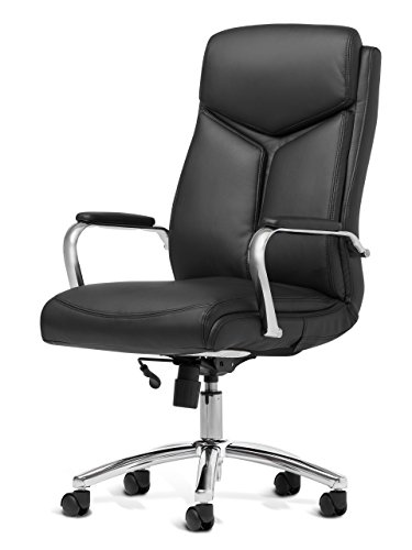 OFFICE FACTOR Black Leather Executive Rolling Swivel Chair with Chrome Metal Components, Comfortable Padded Armrests & Adjustable Gaslift ()