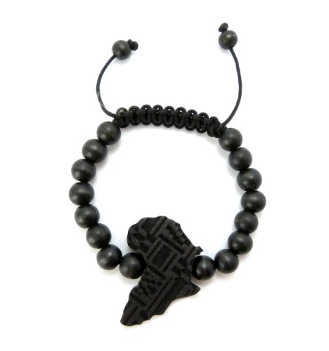 Africa Map Shape Piece 8mm Wood Beads Adjustable Bracelet in Many Colors Available (Black) by Fashion 21