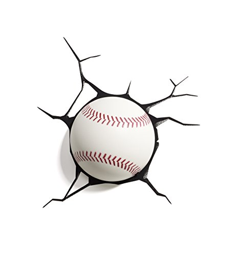 3d light fx sports mini 3d deco wall led night light with crack wall sticker, baseball