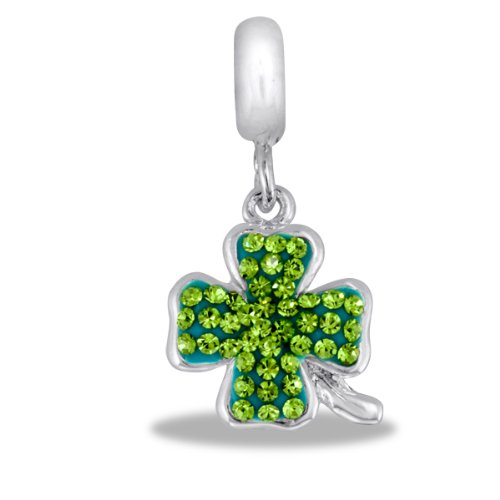 DaVinci Bead Green CZ Clover - Jewelry Bracelet Memories Beads Irish Luck DB97-7-DAV