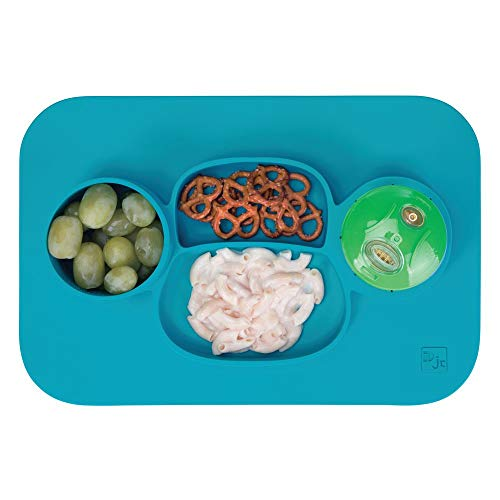 - mDesign Silicone Mealtime Plate and Placemat for Babies, Toddlers, Kids - BPA Free, Food Safe � Stays in Place � 4 Sections - Microwave and Dishwasher Safe, Fun Monkey Design, Large, Teal Blue