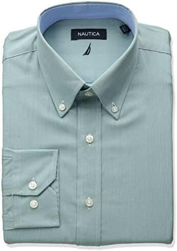 Nautica Men's Chambray Buttondown Collar Dress Shirt