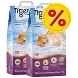 Doppelpack TIGERINO Nuggies Katzenstreu - Babypuderduft 2 x 14 Liter