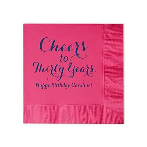 Personalized Birthday Cocktail Napkins, Cheers to 30 Years, Custom dinner, Adult Birthday Decor 143 -