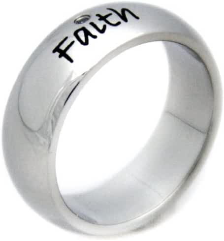 Faith Cubic Zirconia Ring - Stainless Steel Poesy Ring - Inspirational Ring