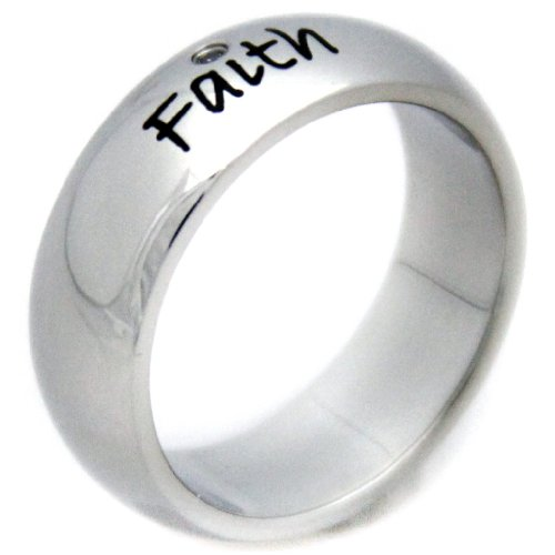 Faith Cubic Zirconia Ring - Stainless Steel Poesy Ring - Inspirational Ring ()