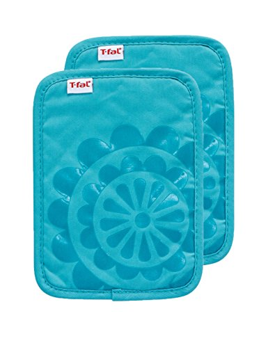 T-fal Textiles Silicone Printed Medallion 100% Cotton Twill Hot Pad Pot Holders, 9-inches x 6.75-inches, Set of 2, Breeze Blue
