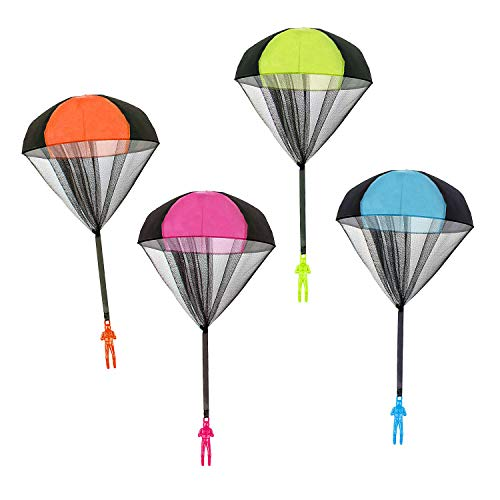 Parachute Toys, 4 PCS Tangle Free Throwing Hand Throw Soldiers Toy Parachute for Kids, Outdoor Children's Flying Toys Paratroopers Party Favors, No Strings No Batteries Toss It Up (Pack of 4) ()