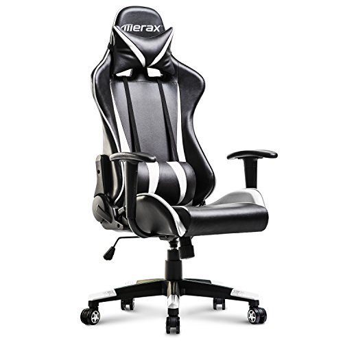 Merax Racing Gaming High-Back Chair Computer Ergonomic Design Computer Chair PU Leather Office Chair (White and ()