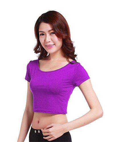 GladThink la mujer musulmana camiseta de manga corta de media longitud y Púrpura