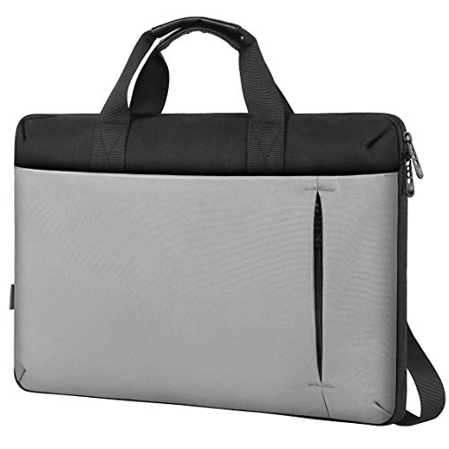 Slim Laptop Bag,17.3 Inch Laptop Carrying Case for Women Men Large Briefcase Sleeve with Handle Shoulder Strap Waterproof Messenger Bags Fit 17 15.6 15 in Hp Dell Macbook Lenovo Computer Notebook Gray