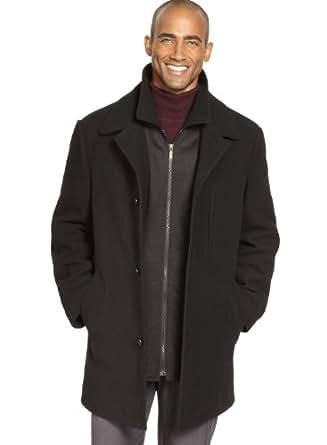 Ralph Lauren Mens Overcoat 38 Short Black Coat 3-Buttons Duane Quilt Lined