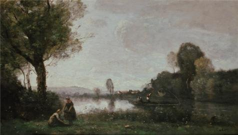 Perfect Effect Canvas ,the Beautiful Art Decorative Canvas Prints Of Oil Painting 'Jean-Baptiste Camille Corot-Seine Landscape Near Chatou,1855', 10x18 Inch / 25x45 Cm Is Best For Foyer Gallery Art And Home Artwork And Gifts