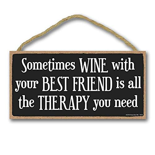 Supvivi Decor Ative Wood Sign Home Sometimes Wine with Your Best Friend 5 x 10 inch Hanging Wall Art (Near Me Sculptures Art)