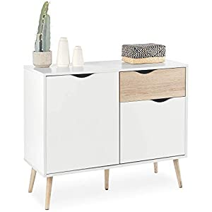 VonHaus Sideboard Cabinet – White And Oak Effect Sideboard With Drawers And Cupboards – Living Room Sideboard And Hallway Furniture