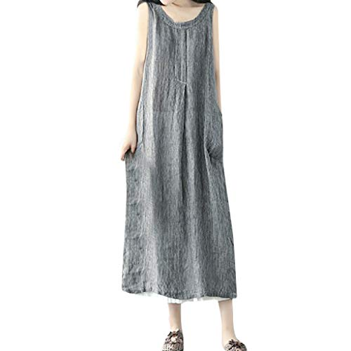 Loose Stripe Baggy Dress Women Oversize Pockets Cotton and Linen Gray