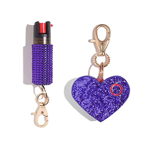 BlingSting Self Defense Set for Women - Maximum Strength Pepper Spray with UV Marking Dye & Personal Safety Siren Keychain Alarm