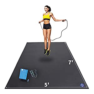 Premium Large Exercise Mat 7′ x 5′ x 7mm, High-Density Workout Mats for Home Gym Flooring, Non-Slip, Extra Thick Durable Cardio Mat, and Ideal for Plyo, MMA, Jump Rope – Shoe Friendly