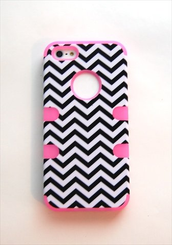 TCD for Apple iPhone 5C Hybrid [LIGHT PINK] Chevron Design [HIGH IMPACT] Case Cover Multiple Layers [Hard Outter Layer, Soft Inner Layer] Includes [FREE SCREEN PROTECTOR AND STYLUS PEN]