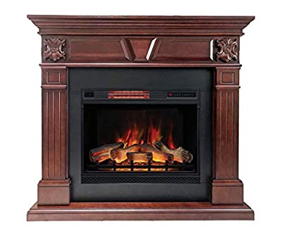 DragonBlaze Electric Fireplace & Premium Mantel - Marcella Cherry Wood Electric Fireplaces with 5200 BTU Infrared Heater - Large, Cherrywood Electric Fireplace Heater