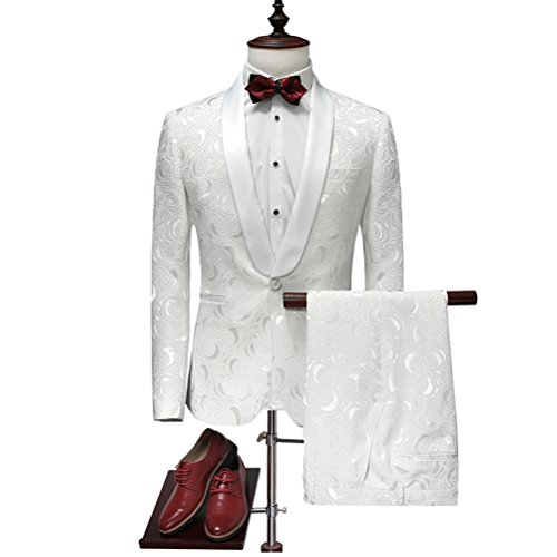 577Loby Latest Coat Pant Designs White Wedding Tuxedos For Men Slim Fit Mens Printed Suits by 577Loby
