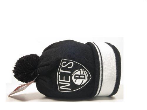 New Mitchell & Ness NBA Brooklyn Nets Cuffed Pom Knit Beanie by Mitchell & Ness (Image #2)