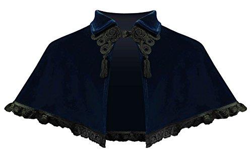 Cykxtees Steampunk Victorian Gothic Renaissance Velvet Collar Capelet Midnight Blue