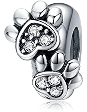 BISAER 925 Sterling Silver Dog Paw Charms Stopper Spacer Beads Charm for Pandora Bracelets Dog Mom Gifts