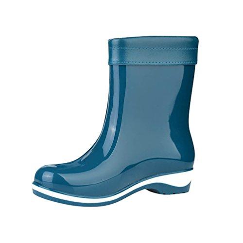 LvRao Mujeres Botas de Lluvia Nieve a Prueba de Agua | Botines Liso Zapatos de Goma Tacón Alto Azul